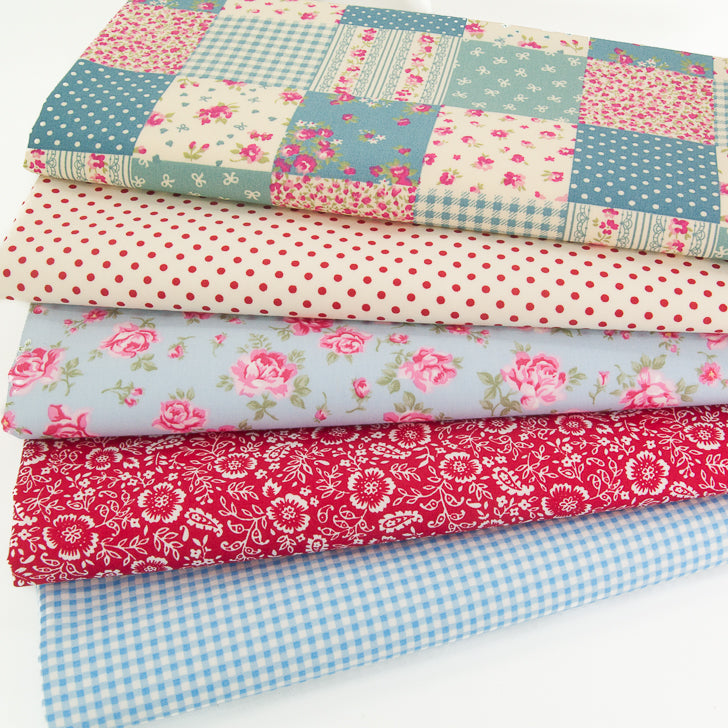 Rose & Hubble Patchwork Bundle - 5 x Fat Quarters - 100% Cotton