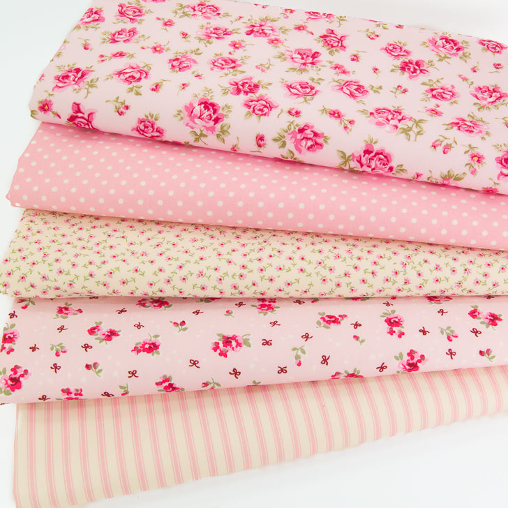 Fat quarter bundle of five pink Rose and Hubble cotton fabrics with florals, spot and stripe designs