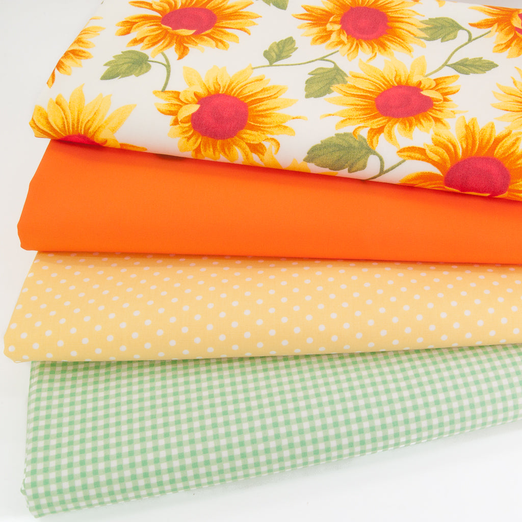 Fat Quarter Bundle - Sunflower & Check - Cotton Fabric