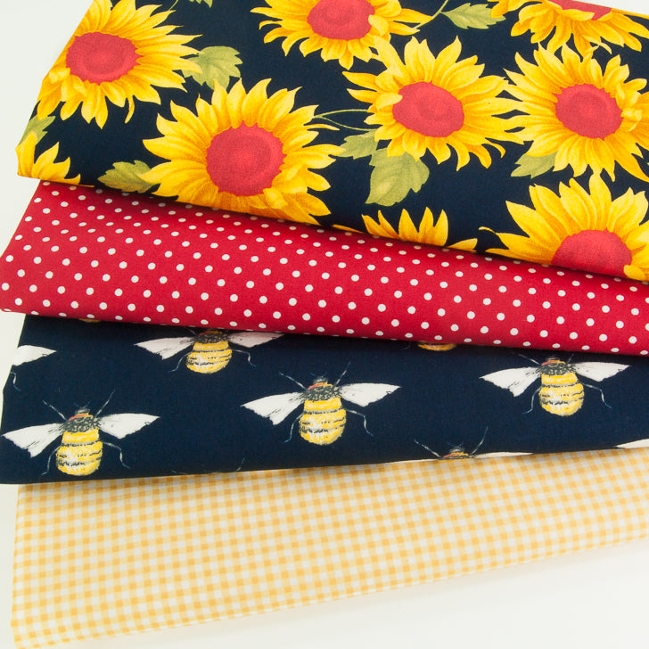 Fat Quarter Bundle - Sunflower & Bee by Rose & Hubble - Cotton Fabric