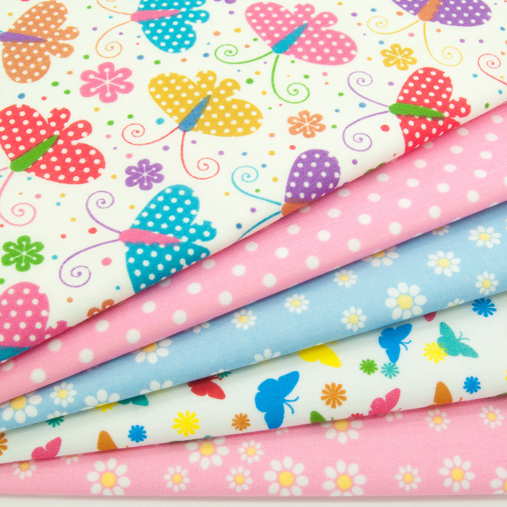 Fat Quarter Bundle - Butterflies & Daisies - Polycotton Bundle
