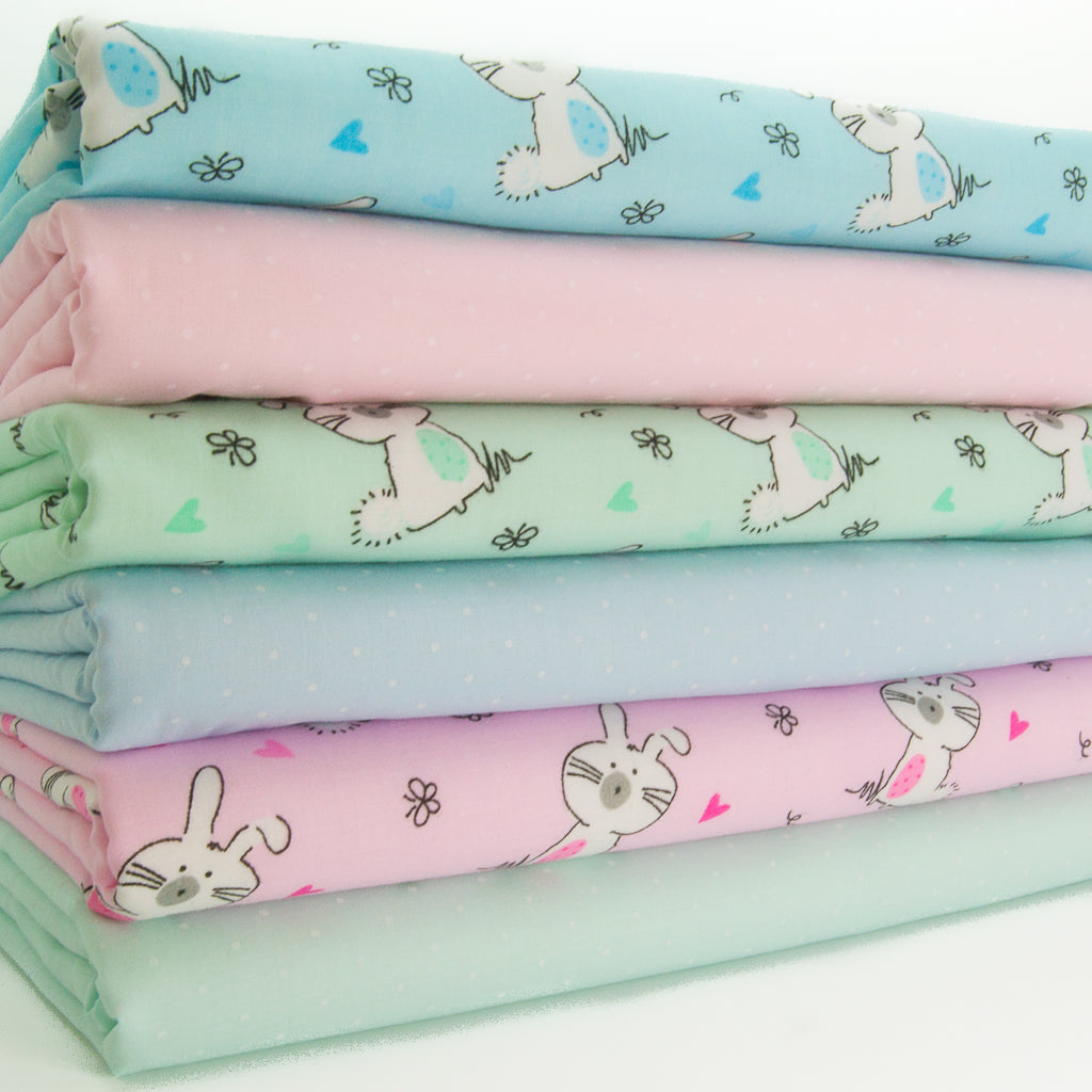 Bunny Rabbit & Spots - Polycotton Fat Quarter Bundle