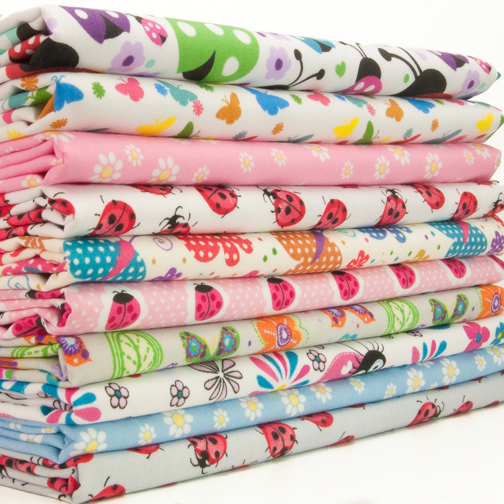 Ladybird & Butterfly - Fat Quarter Bundle of 10