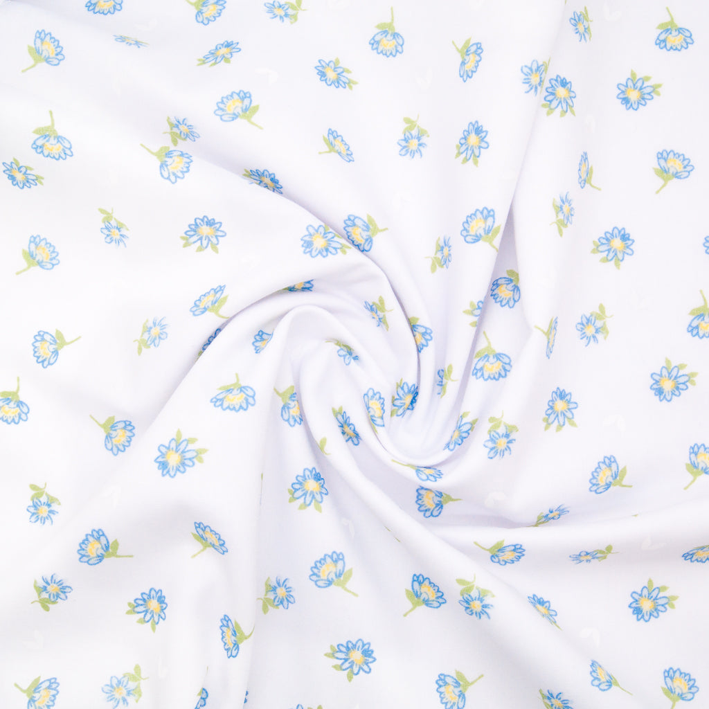Delicate Daisy - Blue on White Polycotton