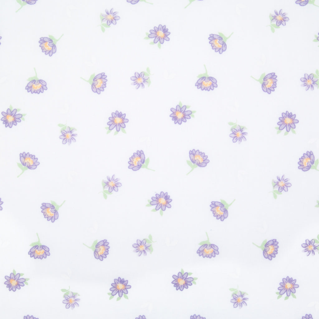 Delicate Daisy - Lilac on White - Polycotton