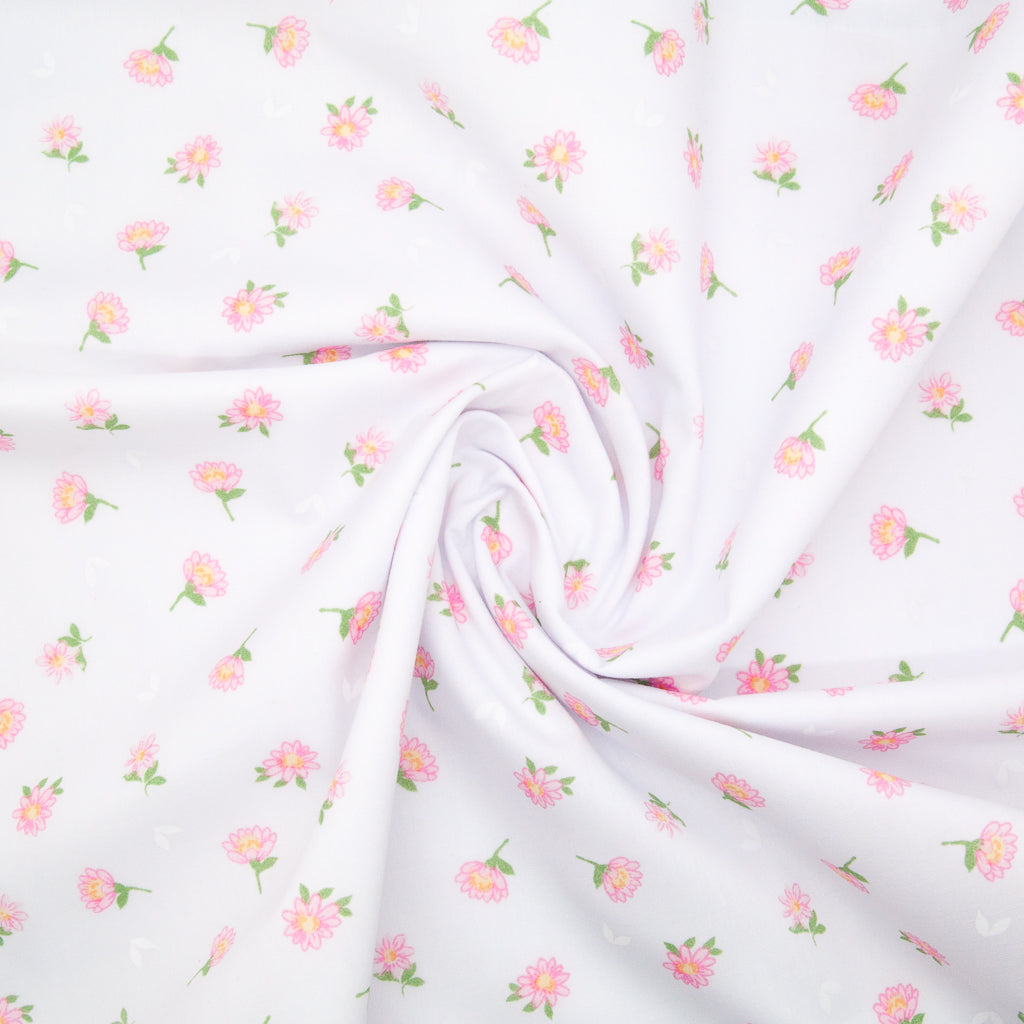 Delicate Daisy - Pink on White - Polycotton