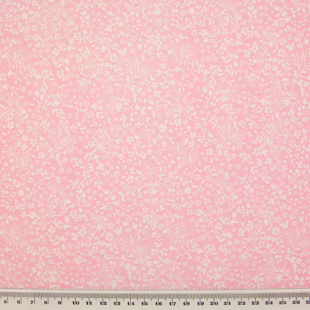 White Ditsy Floral on Pink - Polycotton