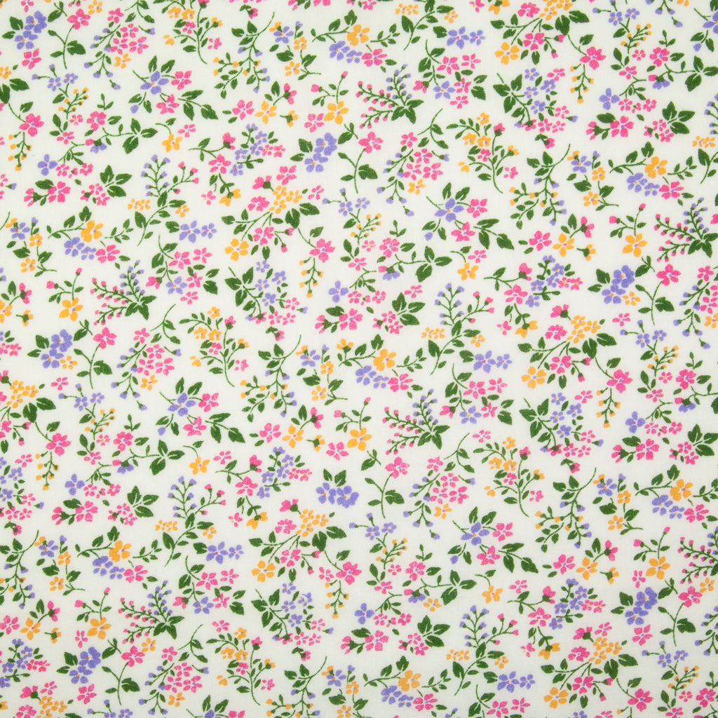 Lilac, Pink & Yellow Flowers - Polycotton