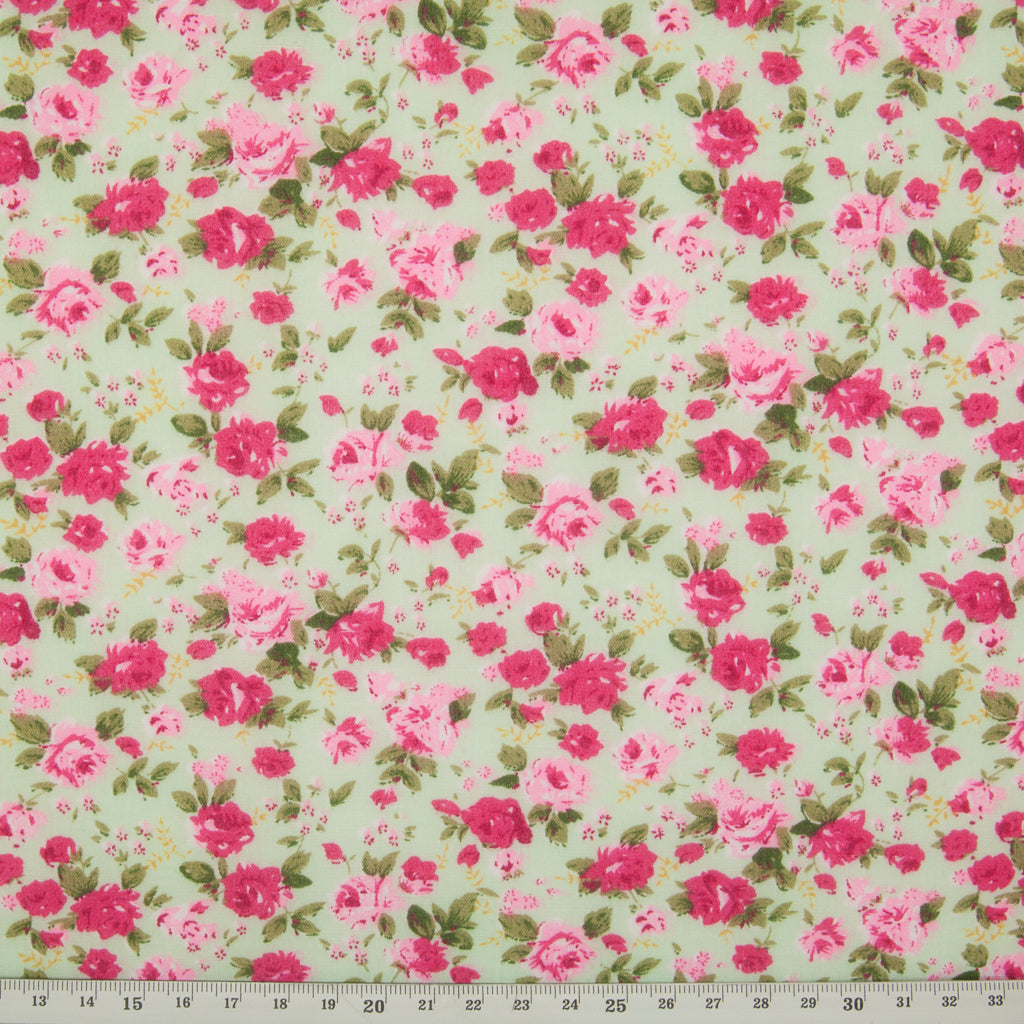 Country Rose - Polycotton - Pink on Mint