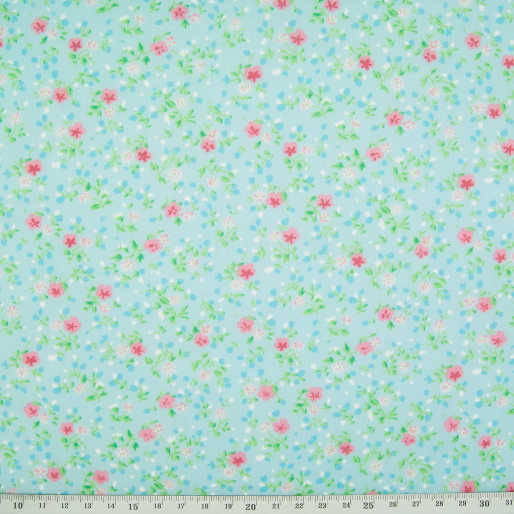 Ditsy Floral Polycotton in Turquoise