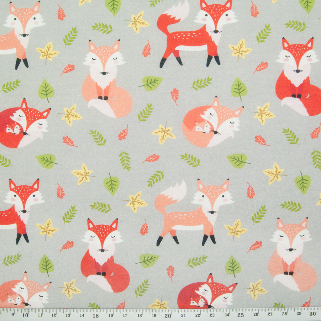 Fox on Silver - 100% Cotton Fabric