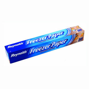 Long blue box containing reynolds plastic coated freezer paper