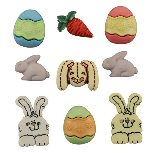 Funny Bunny -Bunny Buttons - Pack of 9