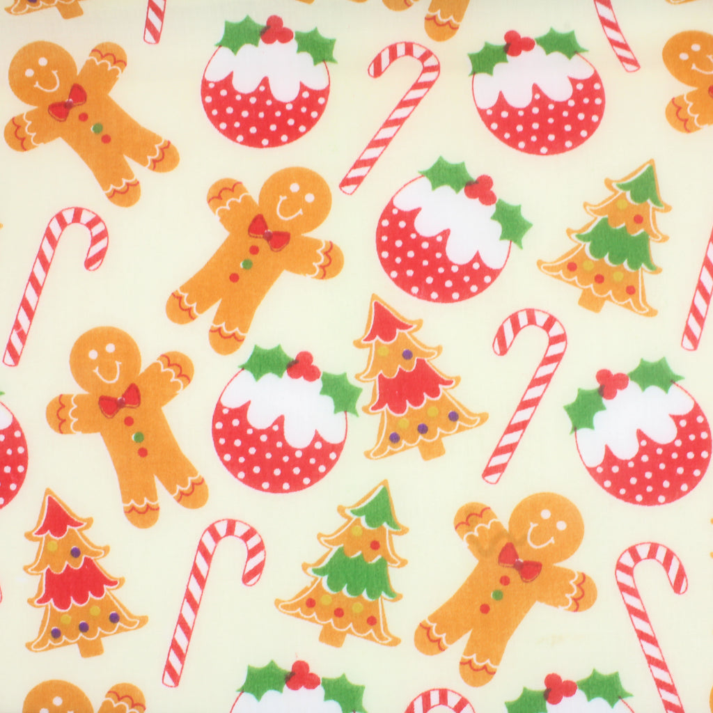Gingerbread Man & Candy Canes - Christmas Polycotton