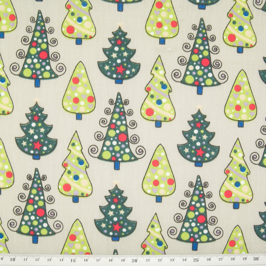 Green Christmas Trees on Silver - Christmas Polycotton