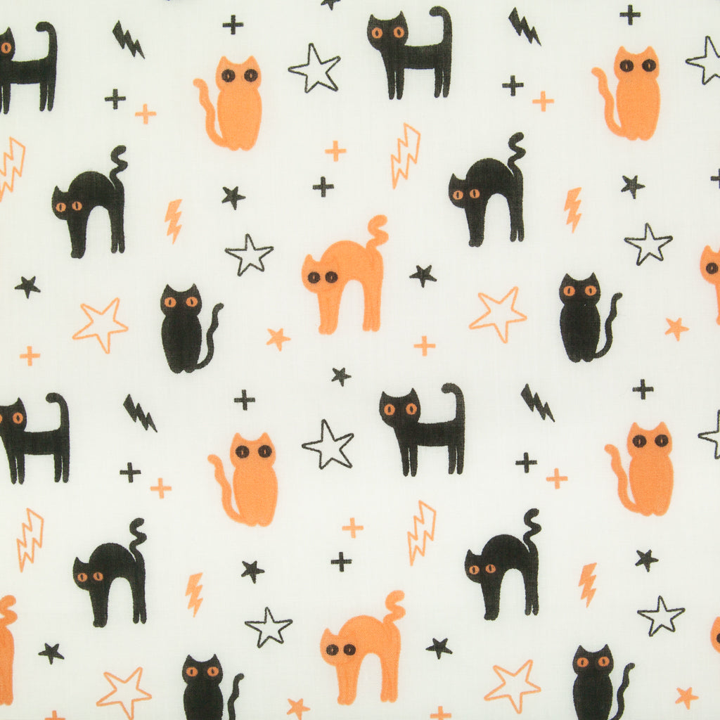 Halloween Cats & Stars on White -  Polycotton