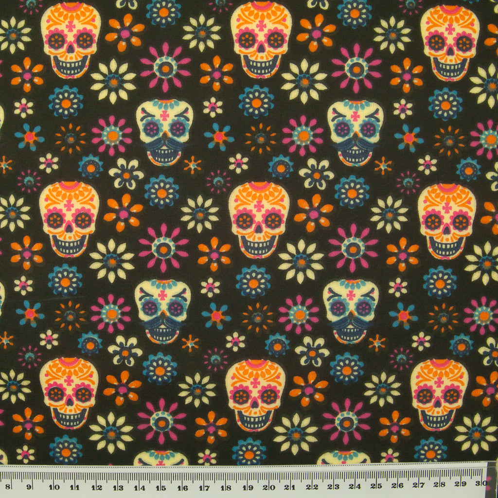Day of the Dead Halloween Skulls on Black -  Polycotton