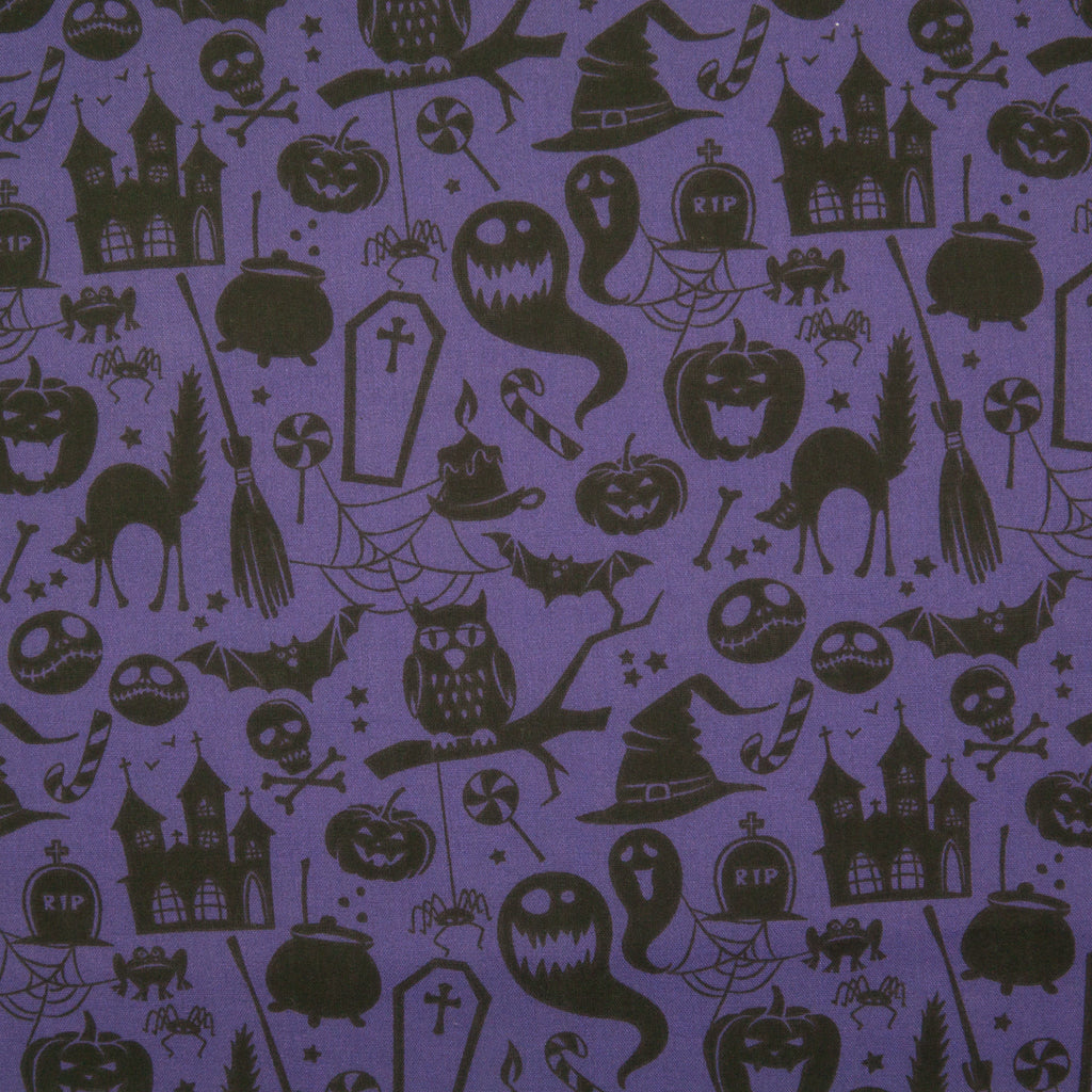 Halloween Pumpkin, Ghost & Bat on Purple -  Polycotton