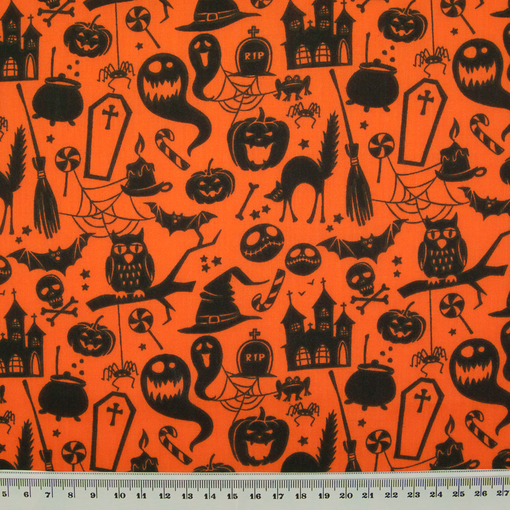 Halloween Pumpkin, Ghost & Bat on Orange -  Polycotton