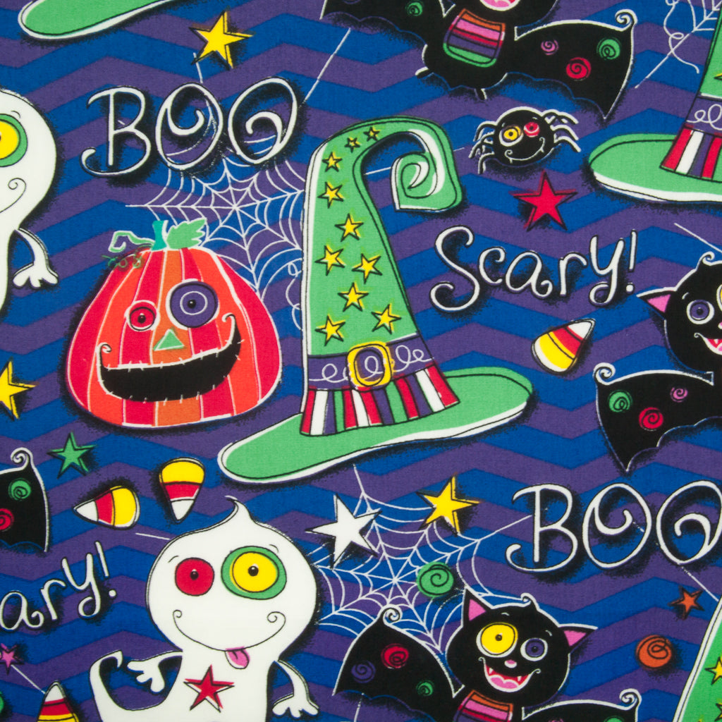 Halloween Pumpkin Ghost & Bat -  100% Cotton Fabric