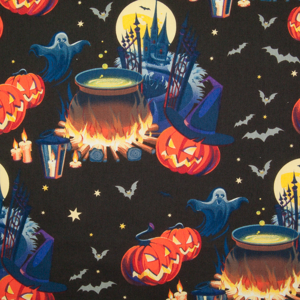 Spooky Halloween Night - Pumpkin, Ghost & Cauldron - 100% Cotton Fabric