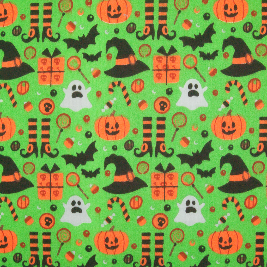Ghost, Pumpkin, Witch Hat & Bat on Green - Halloween Polycotton
