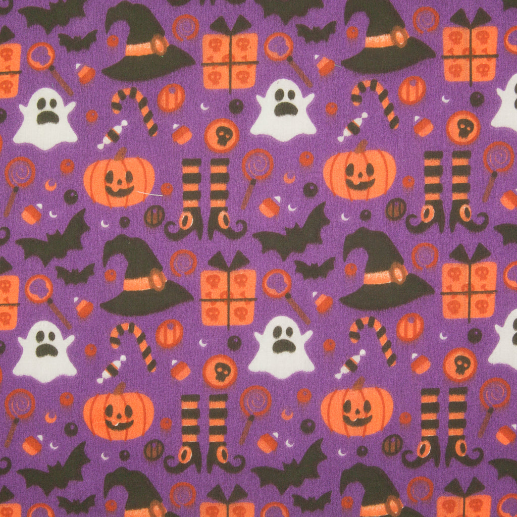Ghost, Pumpkin, Witch Hat & Bat on Purple - Halloween Polycotton