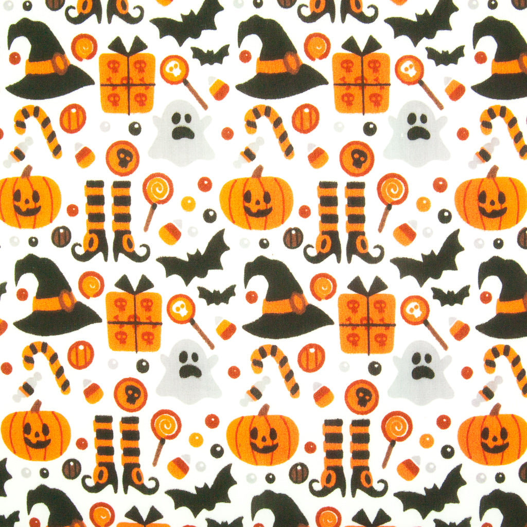 Ghost, Pumpkin, Witch Hat & Bat on White - Halloween Polycotton