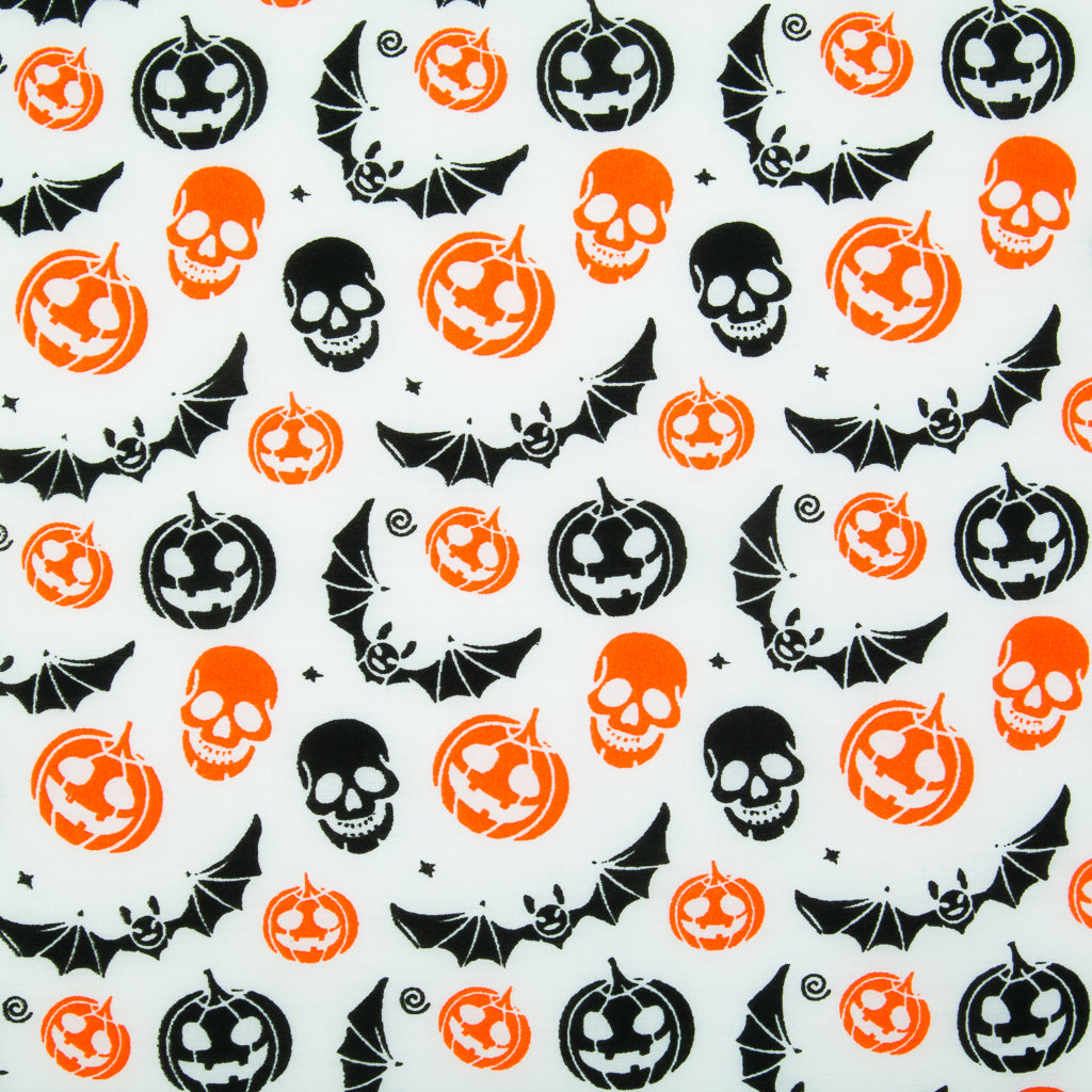 Pumpkin, Bat & Skull on White - Halloween Polycotton