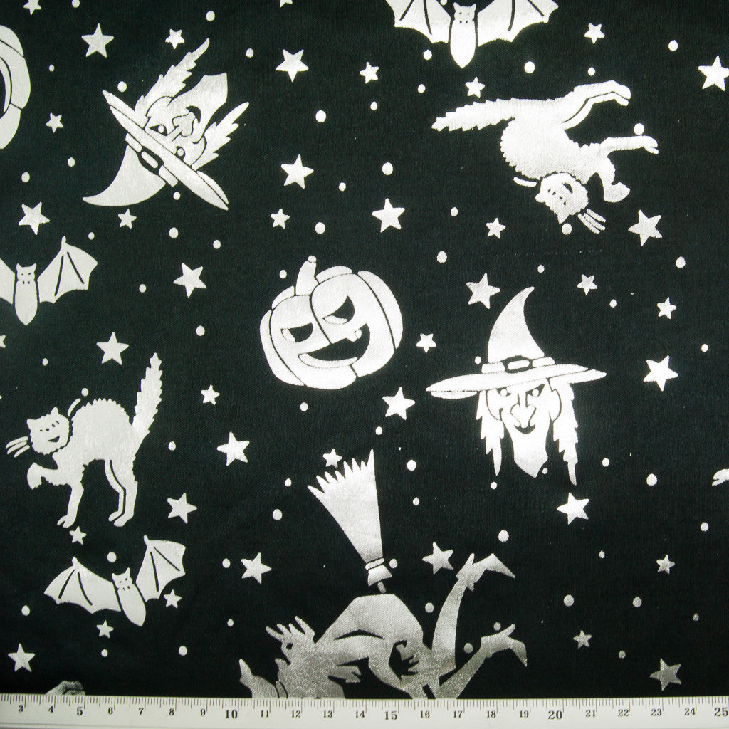 Silver Pumpkins & Witches on Black - Foil Print