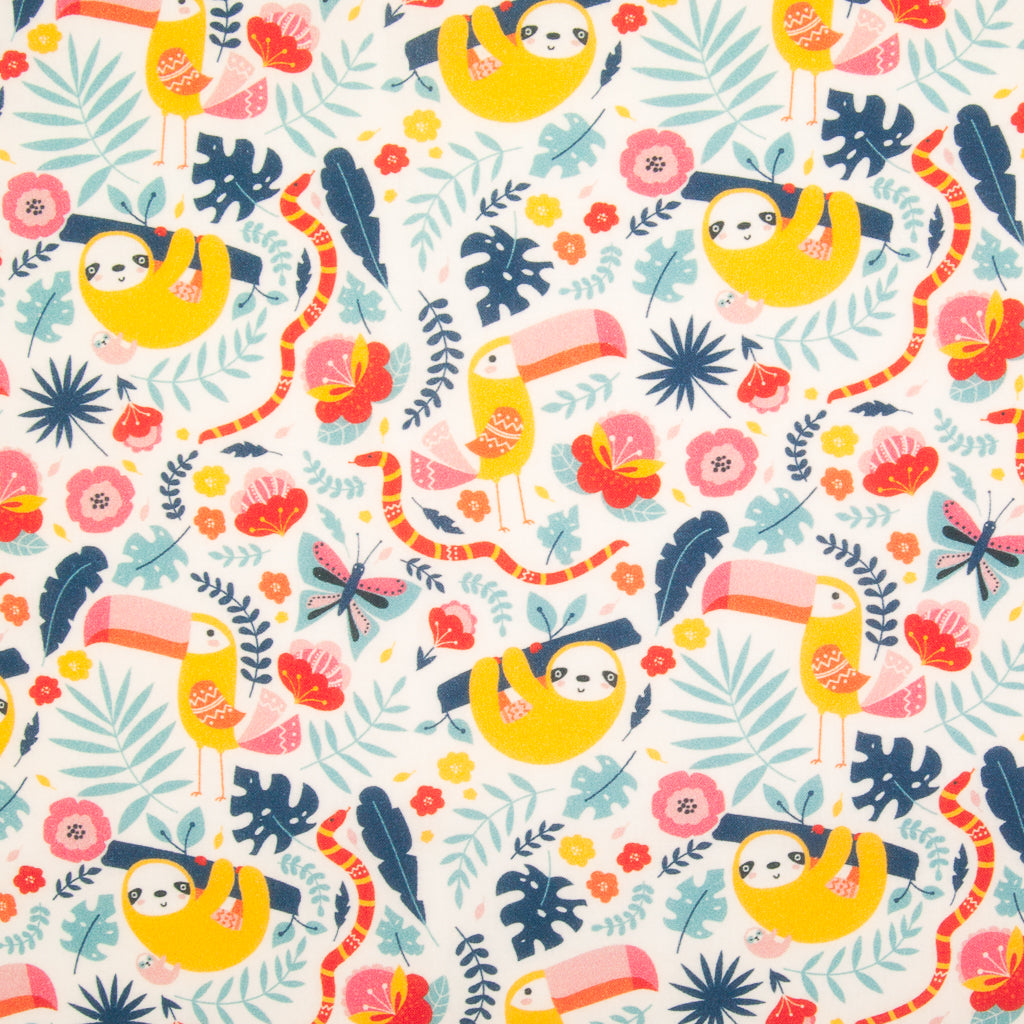 Sloth & Toucan - 100% Cotton Fabric