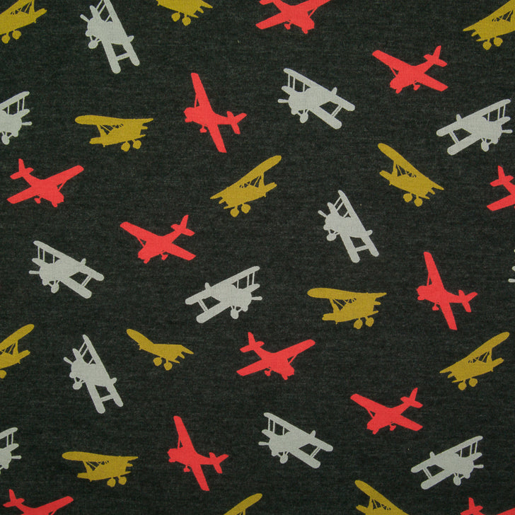 Planes - Cotton Jersey Knit Fabric - Anthracite