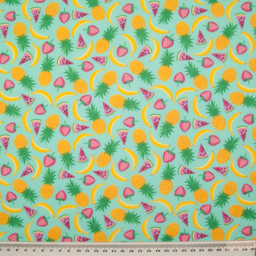 Pineapple Fruit Salad on Aqua - Polycotton
