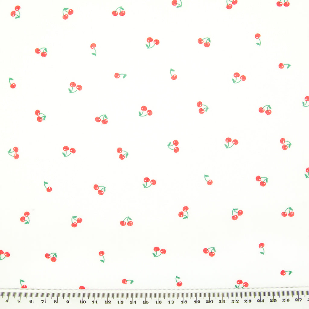 Scattered Ditsy Cherry on White - Polycotton Fabric