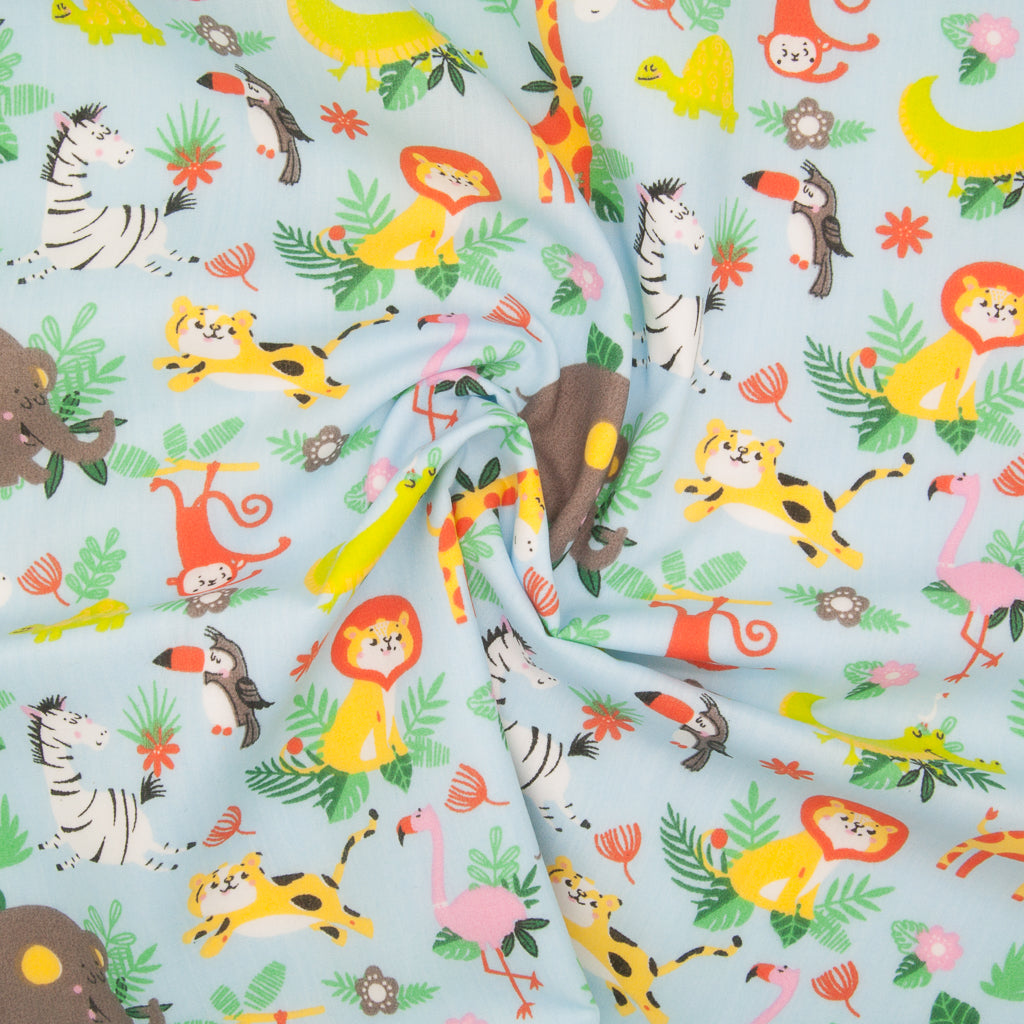 Zoo Animals on Blue - Polycotton Fabric