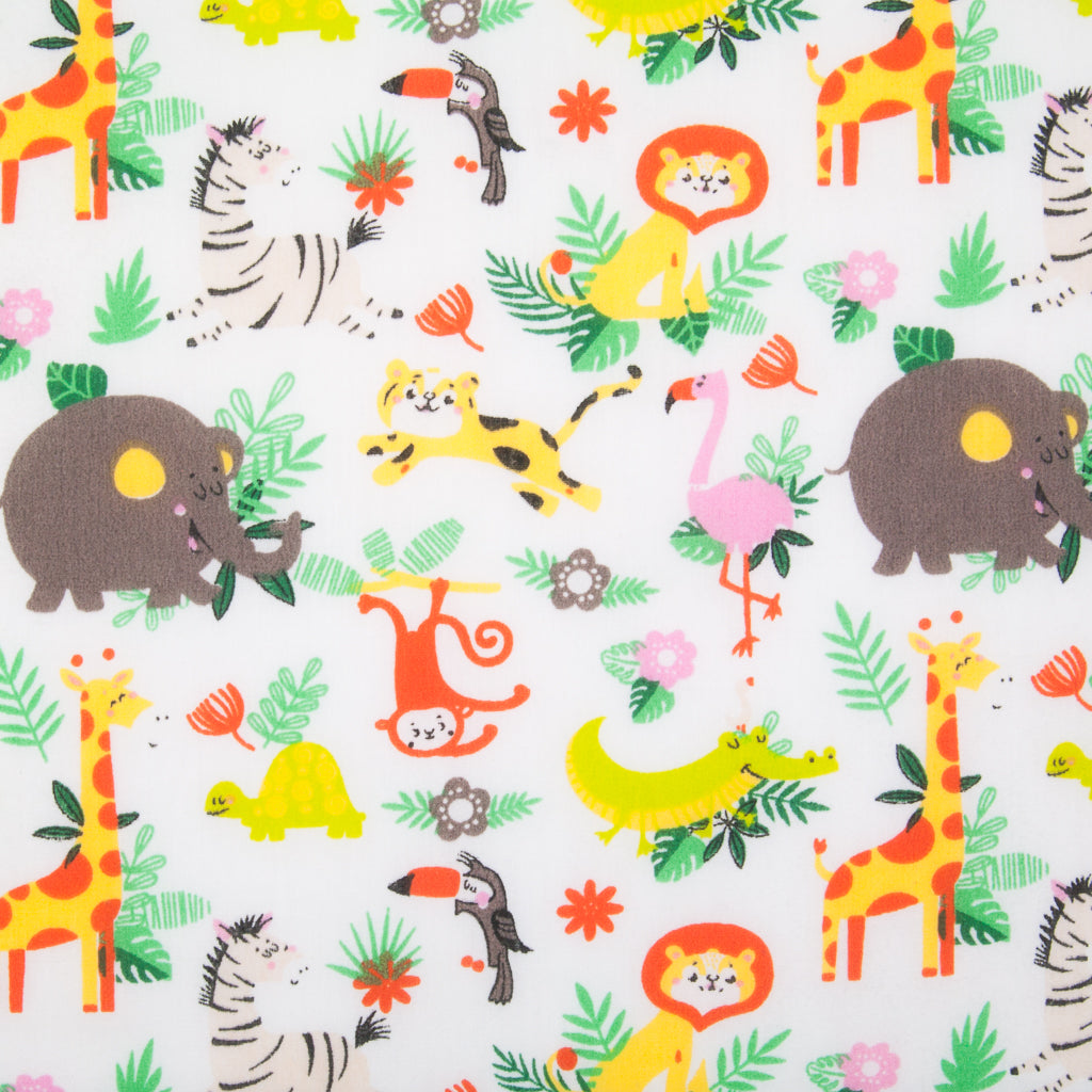 White zoo animal polycotton fabric print with elephant, flamingo, monkey, zebra, lion and giraffe with green foliage
