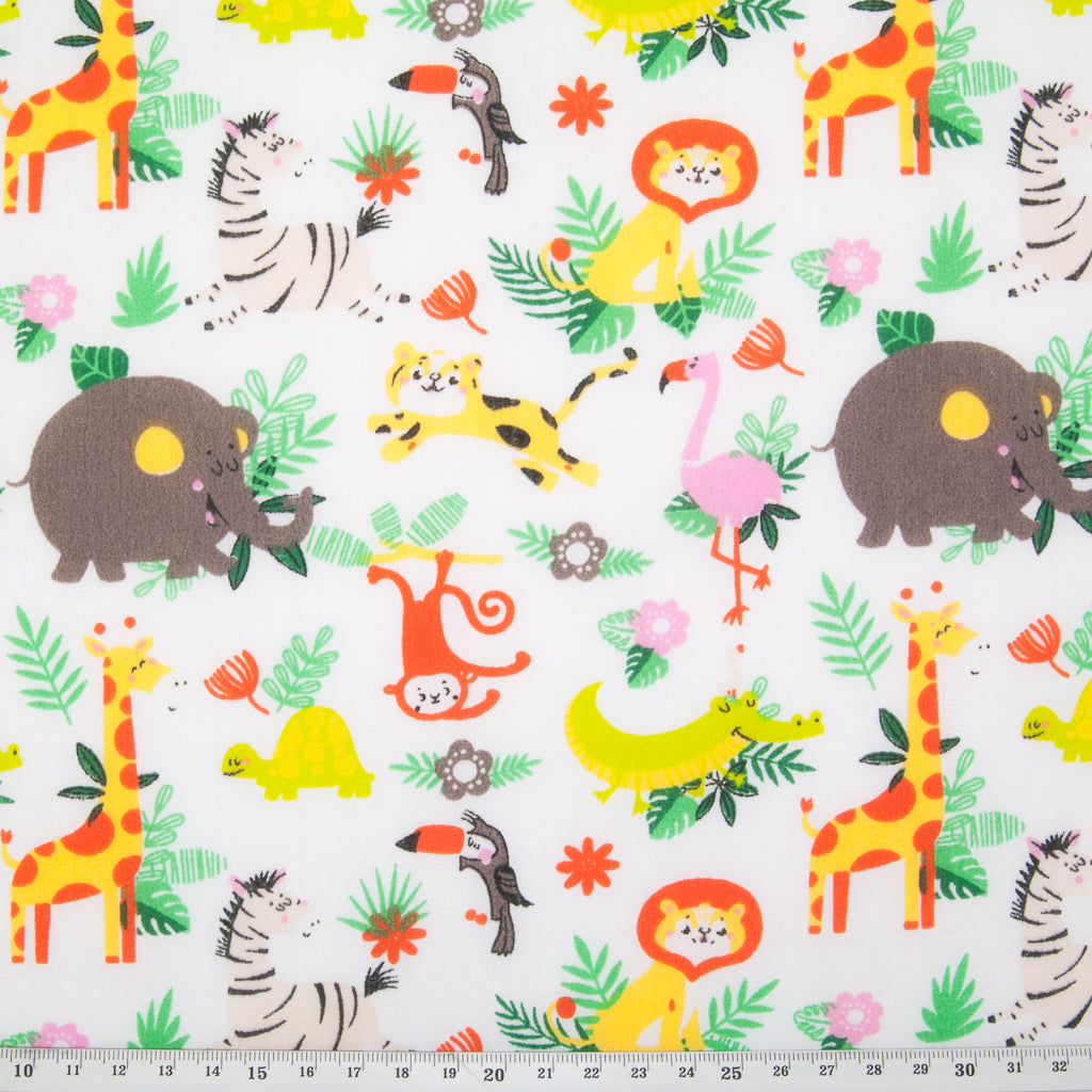 White zoo animal polycotton fabric print with elephant, flamingo, monkey, zebra, lion and giraffe with green foliage includes ruler for perspective
