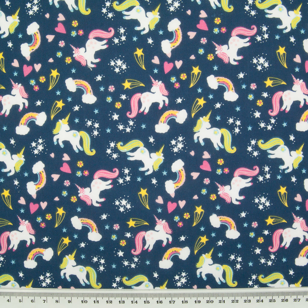 Unicorn, Rainbow & Star on Navy - Polycotton Fabric