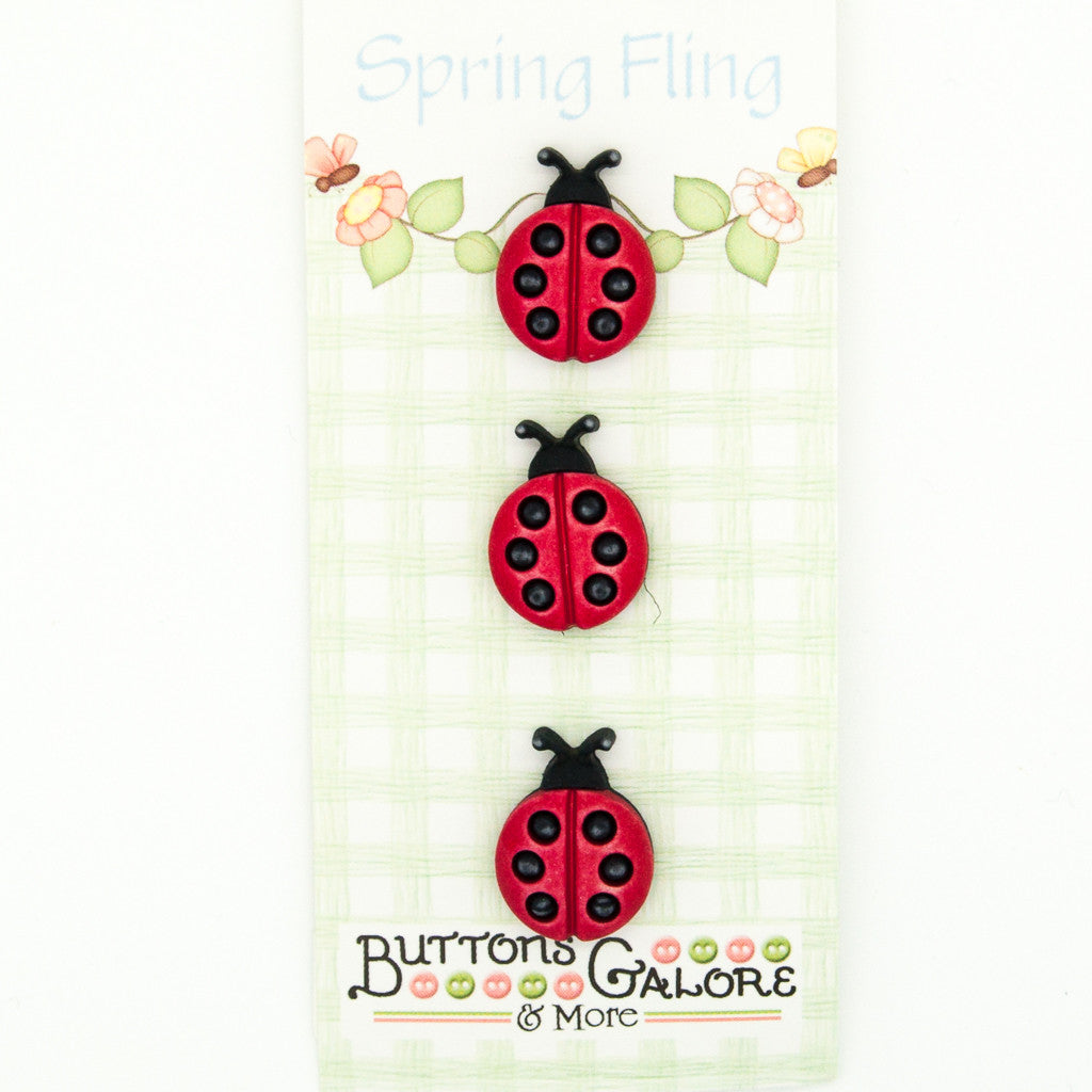 Ladybirds - Buttons - Pack of 3