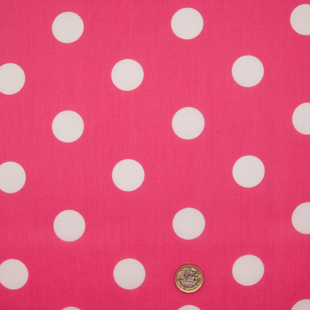Large White Spot on Cerise - 25mm Spot - Polycotton