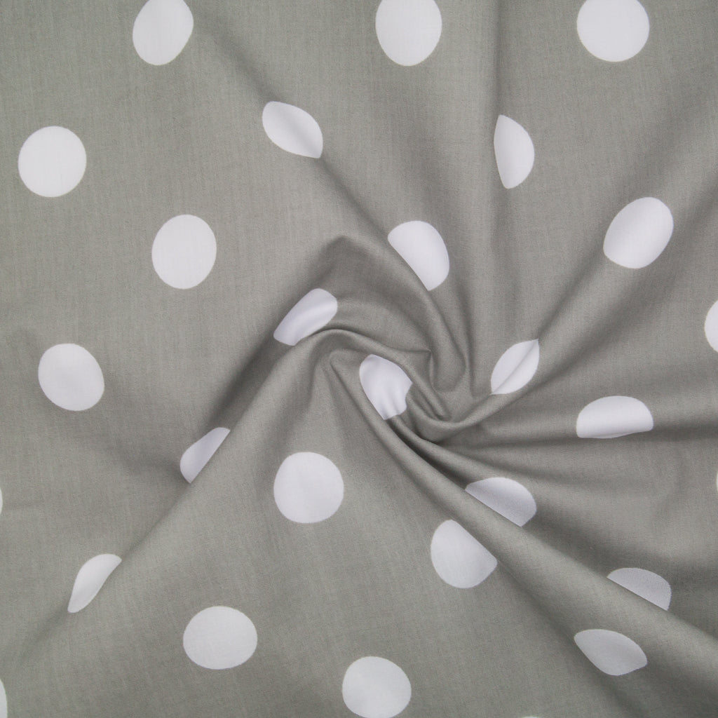 Large White Spots on Grey - 25mm Spot - Polycotton