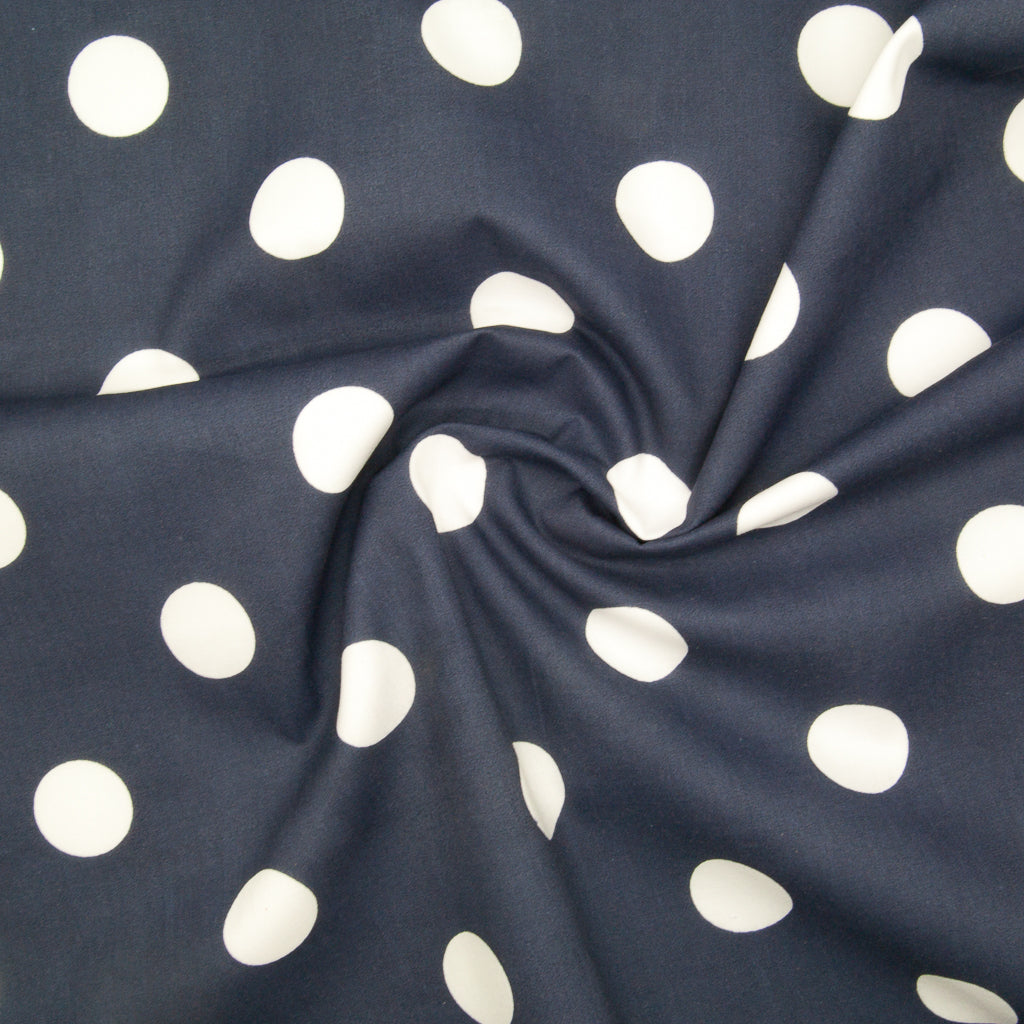 Large White Spots on Navy - 25mm Spot - Polycotton
