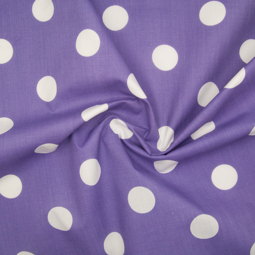 Large White Spot on Purple - 25mm Spot - Polycotton