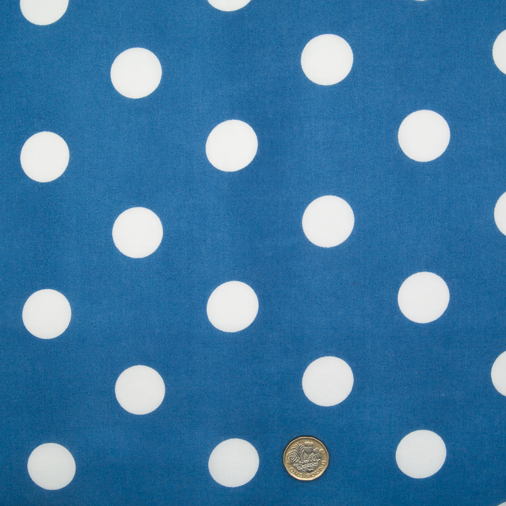 Large White Spots on Royal Blue - 25mm Spot - Polycotton