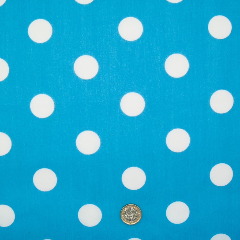 Large White Spot on Turquoise - 25mm Spot - Polycotton