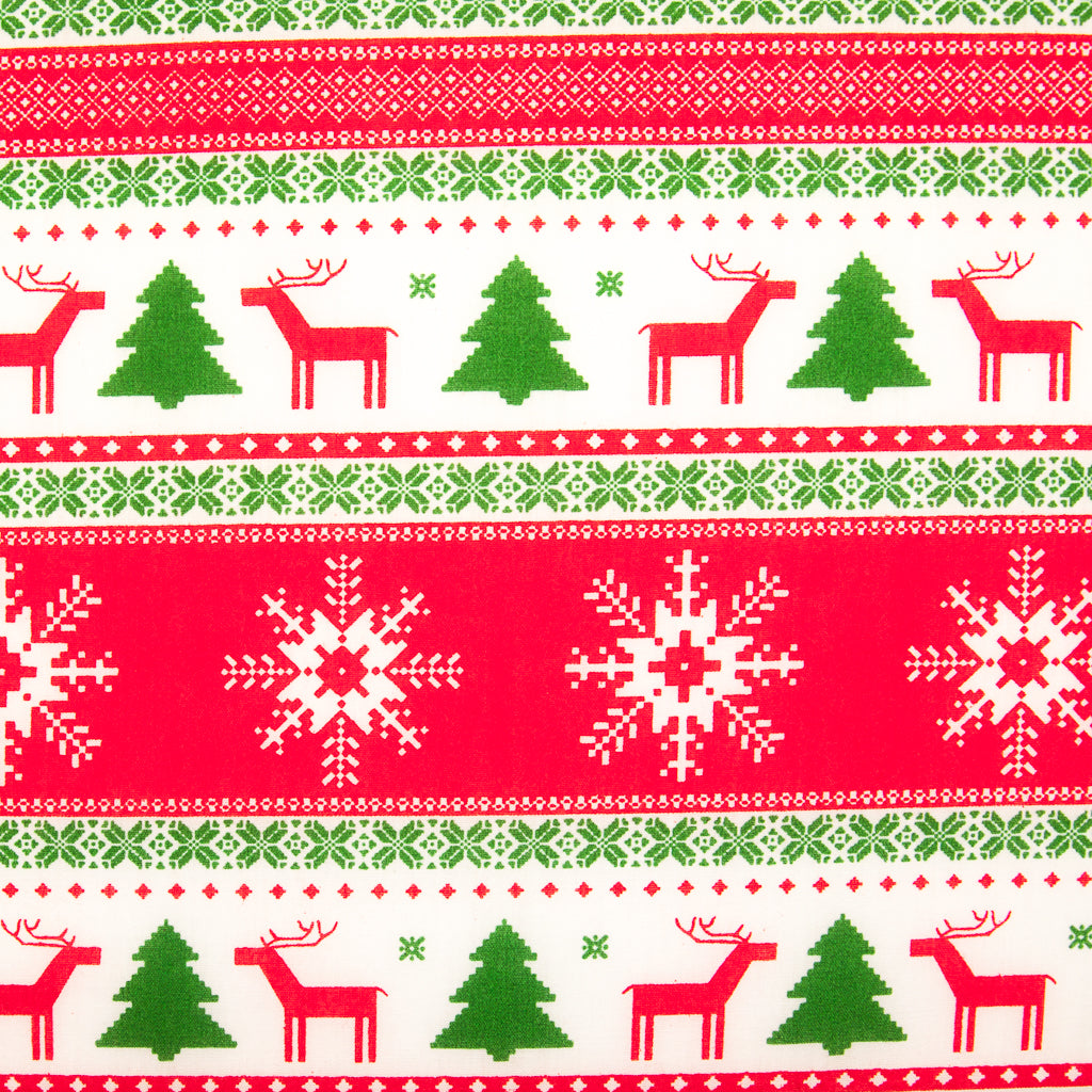 Large Red and Green Scandinavian - Christmas Polycotton