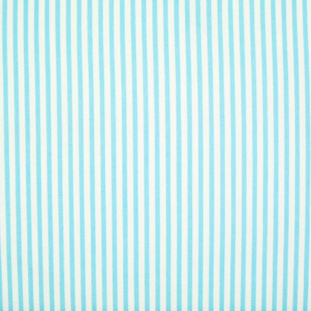 Candy Stripe Polycotton - Sky Blue and White