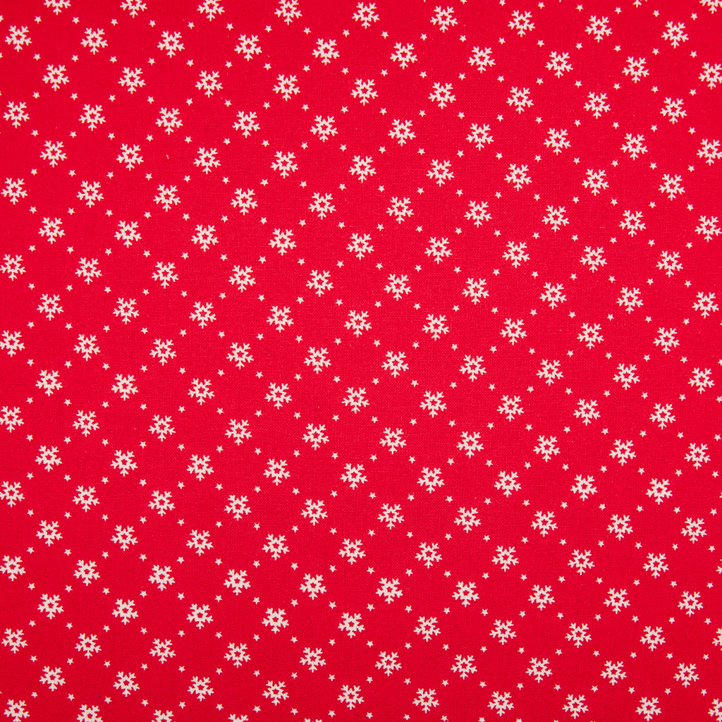 Mini Snowflakes on Red - 100% Cotton Fabric