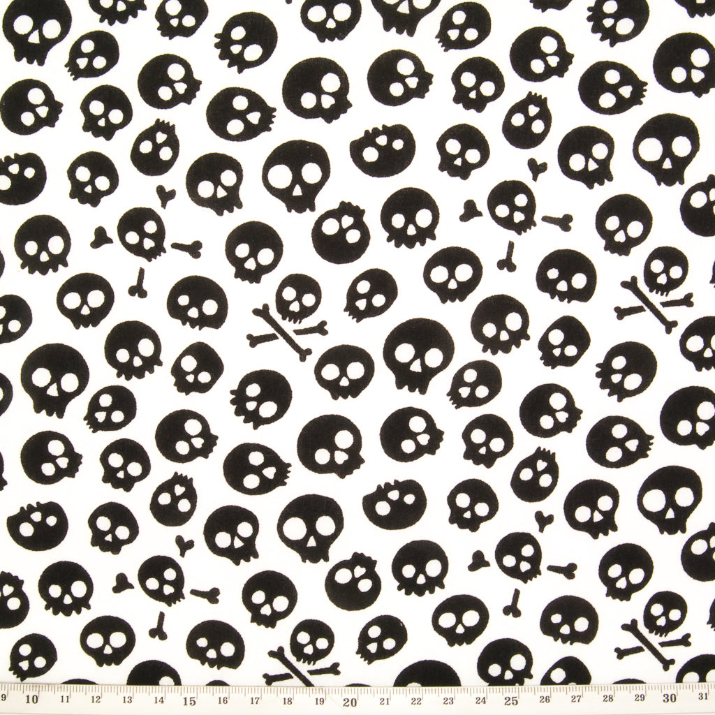 Mini Black Skulls on White Polycotton