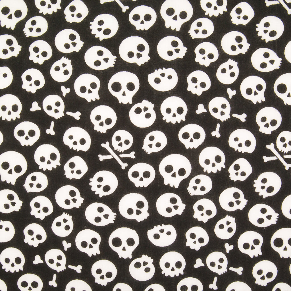 Mini White Skulls on Black Polycotton